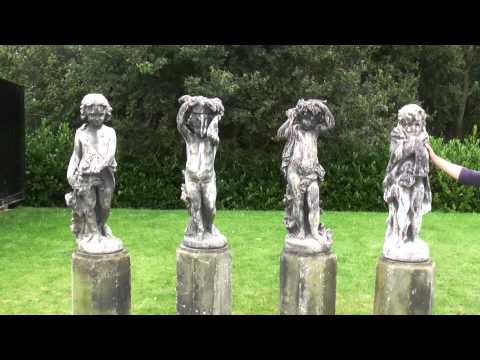 Antique Set of 4 Lead J P White Garden Statues On Stone Plinths - The 4 Seasons - UKAA