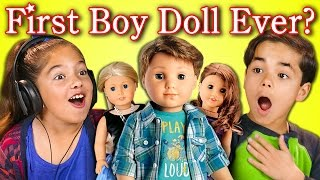 KIDS REACT TO FIRST BOY DOLL EVER?! (AMERICAN GIRL/BOY DOLL)