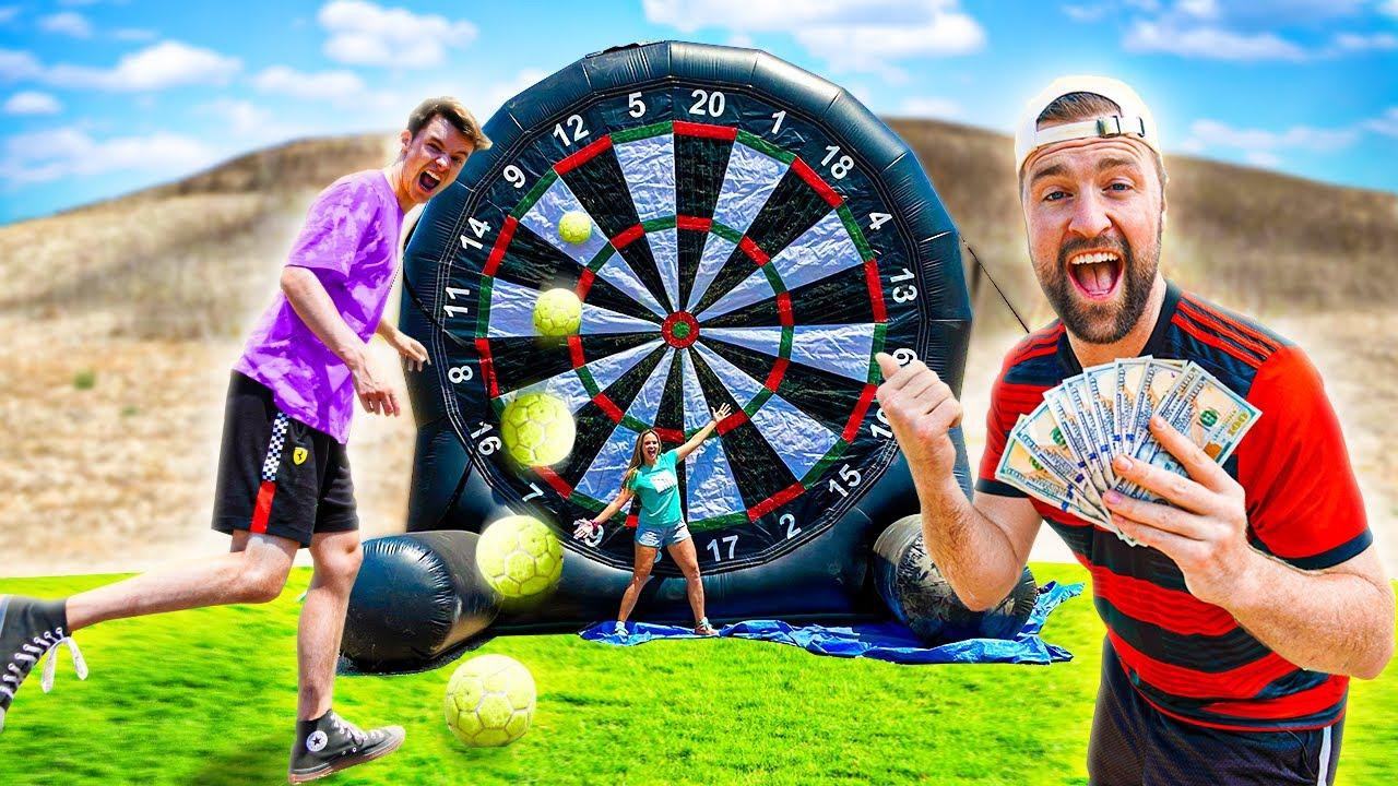 HIT the BULLS EYE, WIN the PRIZE! Giant Soccer Darts w/ Ryan Prunty, AJ Lapray, Josh Horton and more