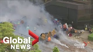 Hong Kong Polytechnic University campus burns as protesters, police clash