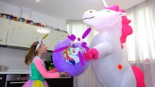 Polina received a present  -  huge unicorn with surprises and toys.