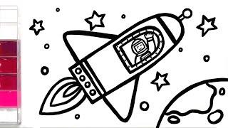 spaceship drawing easy draw simple drawings toddler paintingvalley