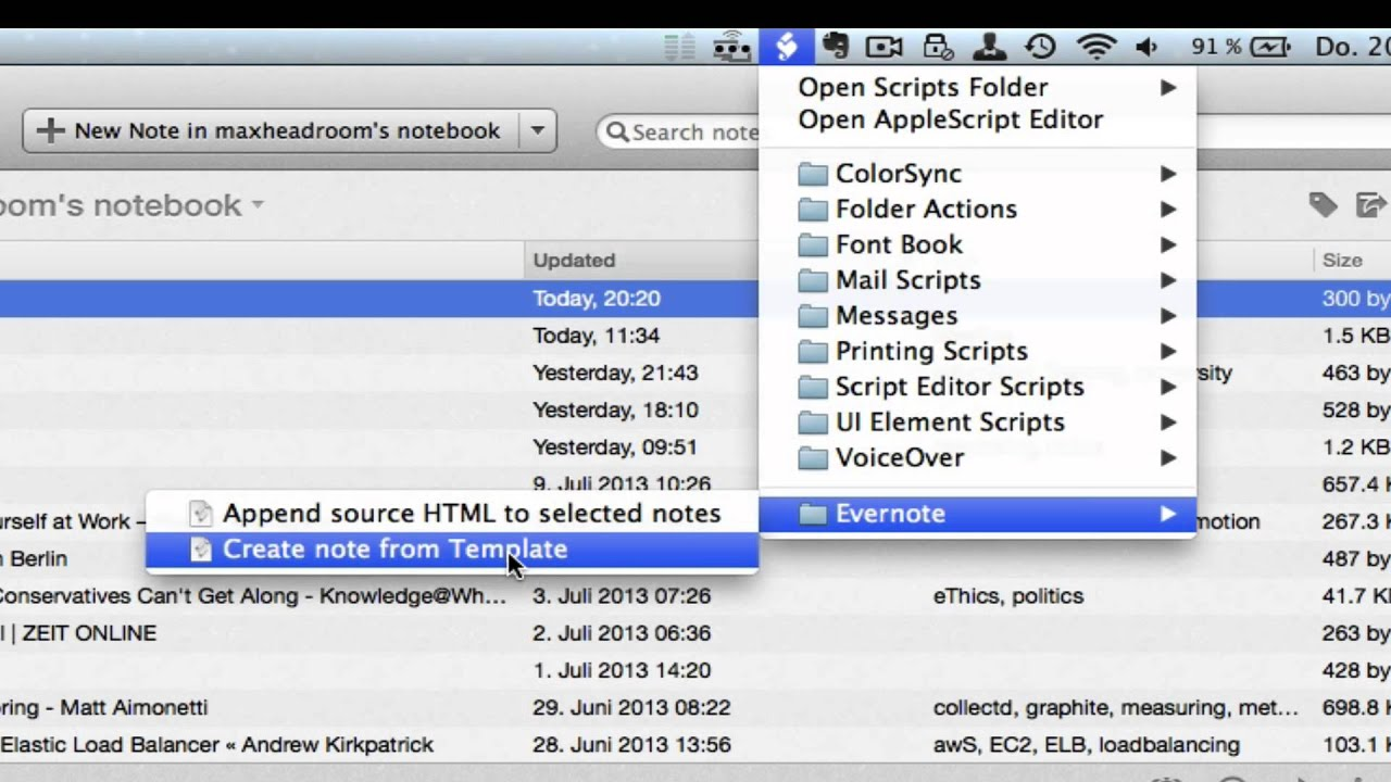 Evernote Templates with AppleScript