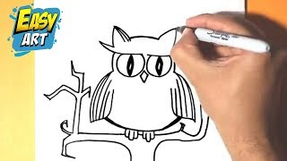 como dibujar una lechuza - how how to draw an owl - halloween