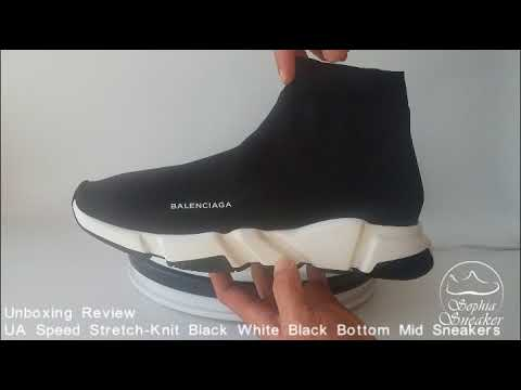 fbaa1cfa05a8 UA Speed Trainer Stretch Knit Black White Black Bottom Mid Sneakers UNBOXING