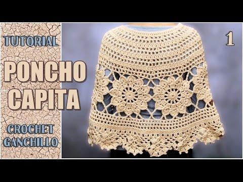 Poncho Capita tejida a crochet, con flores paso a paso (parte 1 de 3 ...