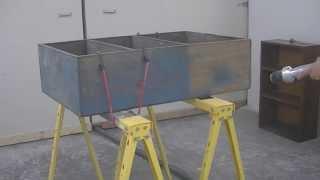 Soda Blasting Painted Walnut Shelf