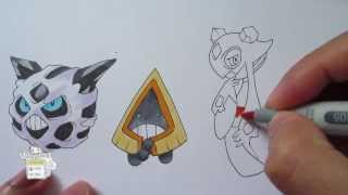 How to draw Pokemon: No. 361 Snorunt, No. 362 Glalie, No. 478 Froslass