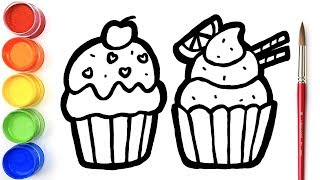 Glitter Cupcake coloring and drawing Learn Colors for kids | Simple Toy Art