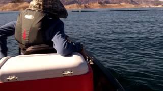 Maiden voyage at Lake Mead. Saranac 160 canoe / Mi