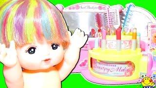 メルちゃん おもちゃの美容室ごっこ遊び❤︎メイク お化粧をしてヘアアレンジで変身♪リカちゃんの美容院をコキンちゃんとドキンちゃんがオープン!髪の毛 ボサボサをヘアケアするよ❤︎Mell-chan