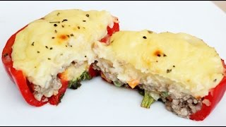 How To Make Baked Stuffed Bell Pepper With Cheesy Mash Potato  Meat  Vegetable Options
