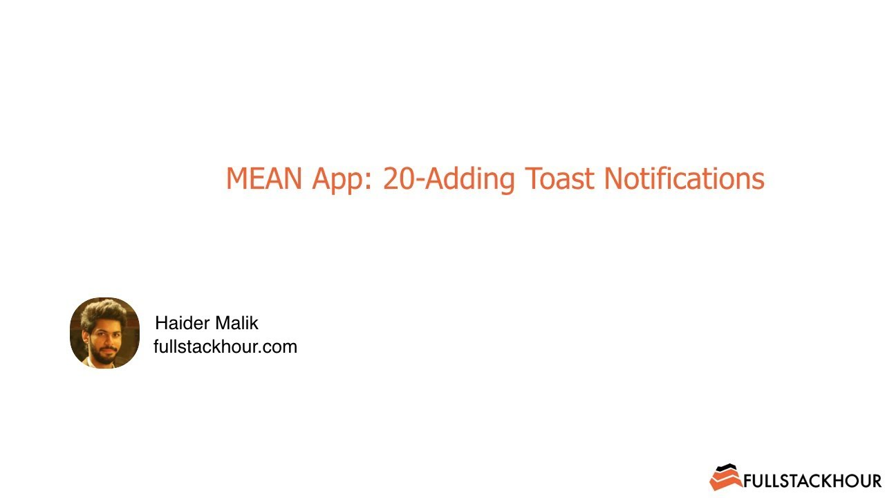 MEAN App with Angular5: 20-Adding Toast Notifications In Angular