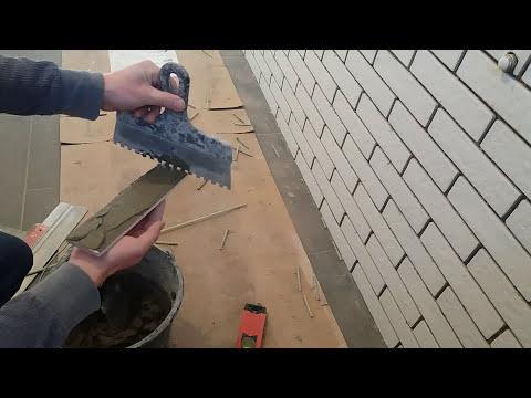 Плитка для ванной! Плитка под кирпич. Укладка декоративной плитки. Видео №2