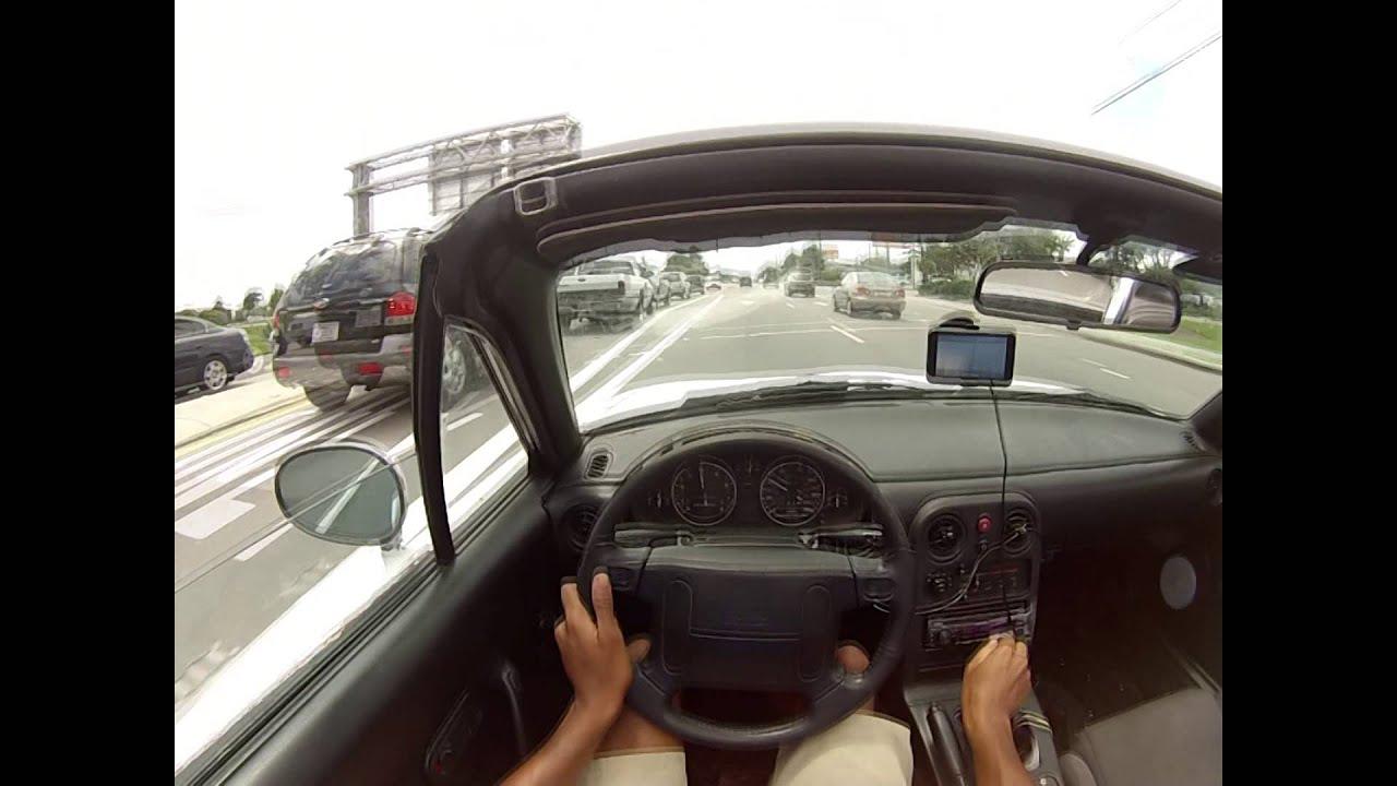 NA Mazda Miata mx5 0 60 mph run POV 14deg cam advancement headers