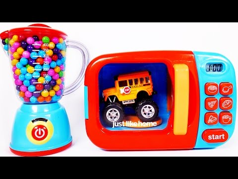 Thumbnail: Microwave Playset Learn Colors with Monster Truck School Bus and Many More Toy Vehicles for Children