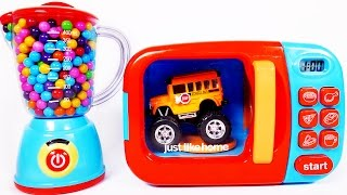 Microwave Playset Learn Colors with Monster Truck School Bus and Many More Toy Vehicles for Children