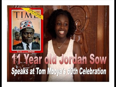 11 yr. Jordan Sow speak at Tom Mboya