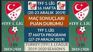 TFF 1 LİG 16 HAFTA MAÇ SONUÇLARI PUAN DURUMU 17 HAFTA PROGRAMI 19 20 TFF 1 League Week 16