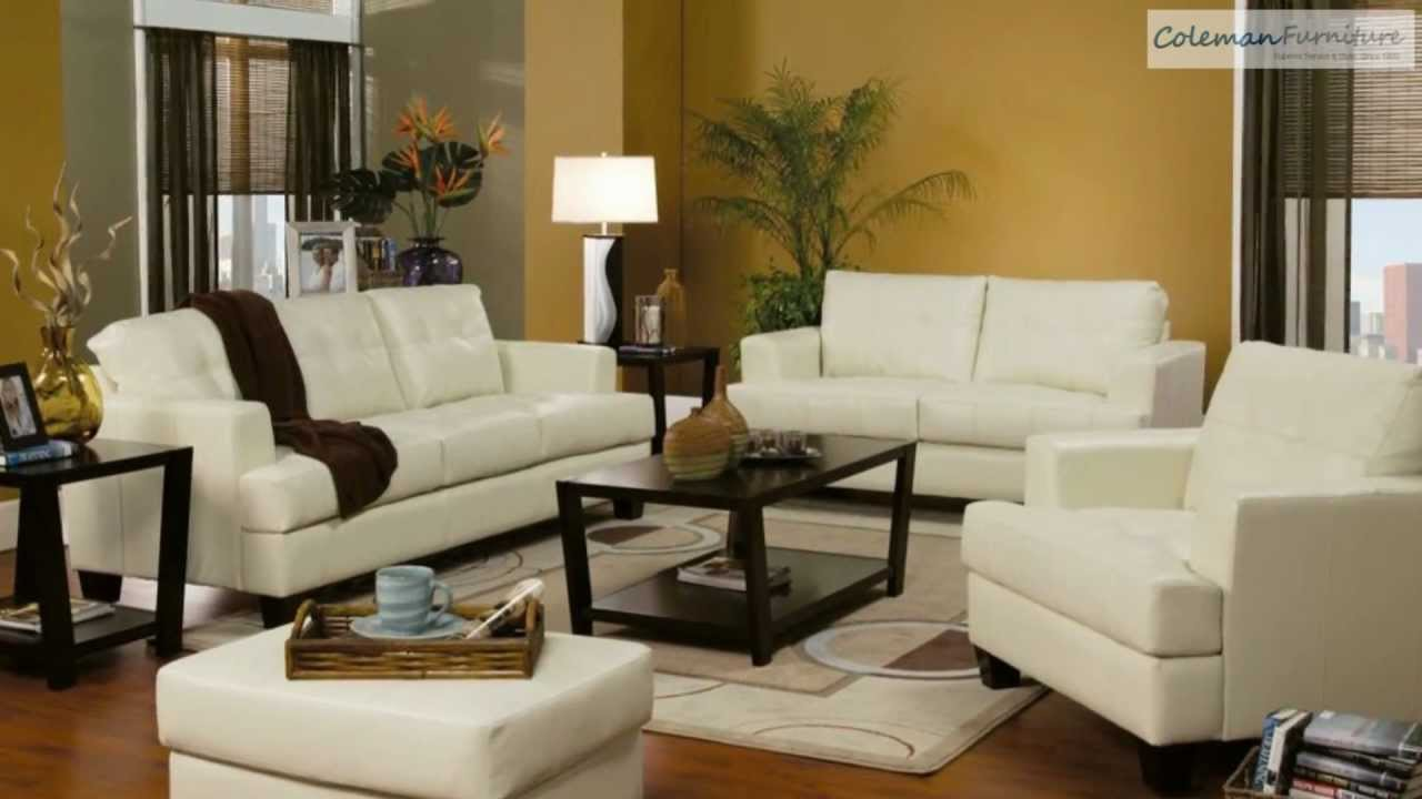 Samuel Cream Leather Living Room Collection From Coaster ...