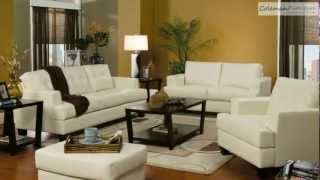 Samuel Cream Leather Living Room Collection From Coaster Furniture