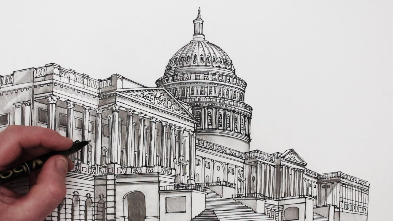 Architectural drawings of famous buildings Beginner Youtube How To Draw Buildings The United States Capitol Building Youtube