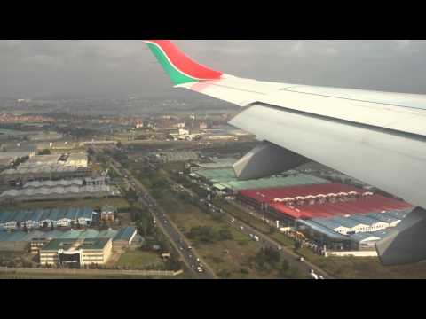 E190 Kenya Airways lands at Jomo Kenyatta airport - Nairobi