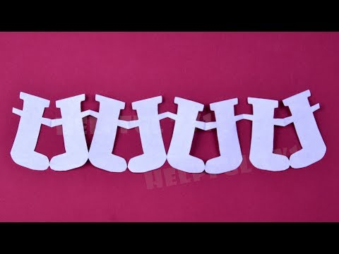 How to make Santa Claus boots garland of paper ☃ DIY Christmas decoration ideas