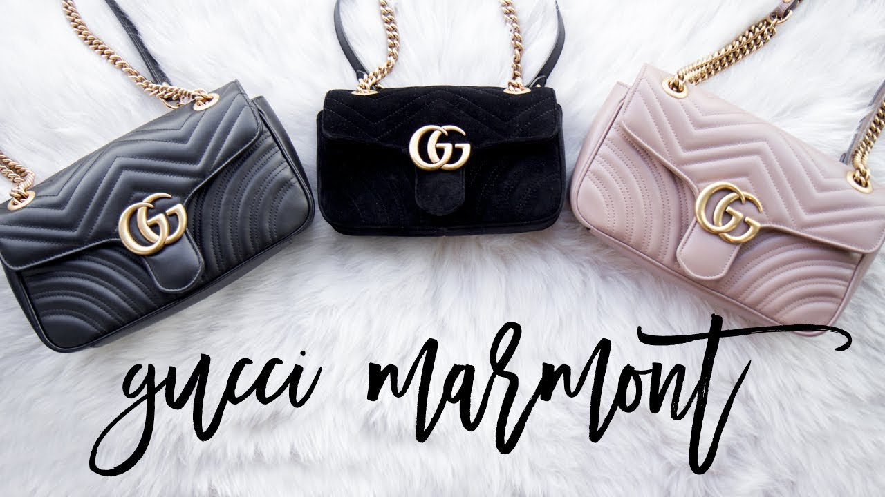 c350ccd1034d GUCCI MARMONT LEATHER vs VELVET COMPARISON + REVIEW - YouTube