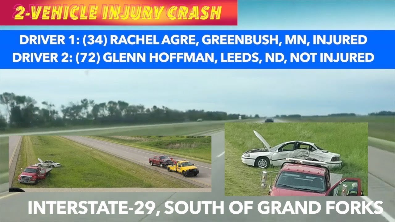 UPDATE: Photos From Scene Of 2-Vehicle Injury Crash On I-29 Near Grand Forks