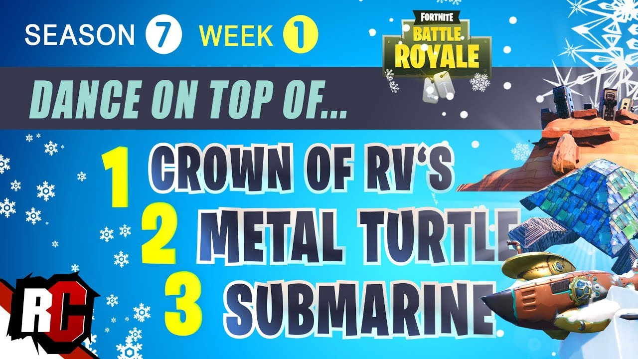 Fortnite Crown Of Rv S Metal Turtle And Submarine Location
