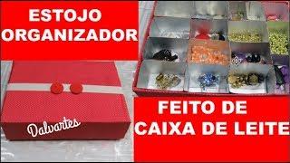 ESTOJO ORGANIZADOR FEITO DE CAIXA DE LEITE