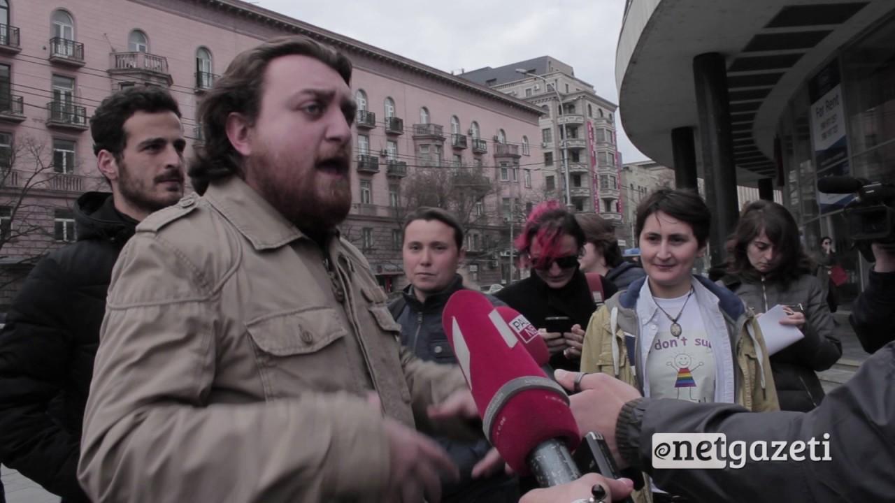 პოლიტიკური მოძრაობა ქართული იდეის წევრები ფემინისტების აქციას ეწინააღმდეგებიან