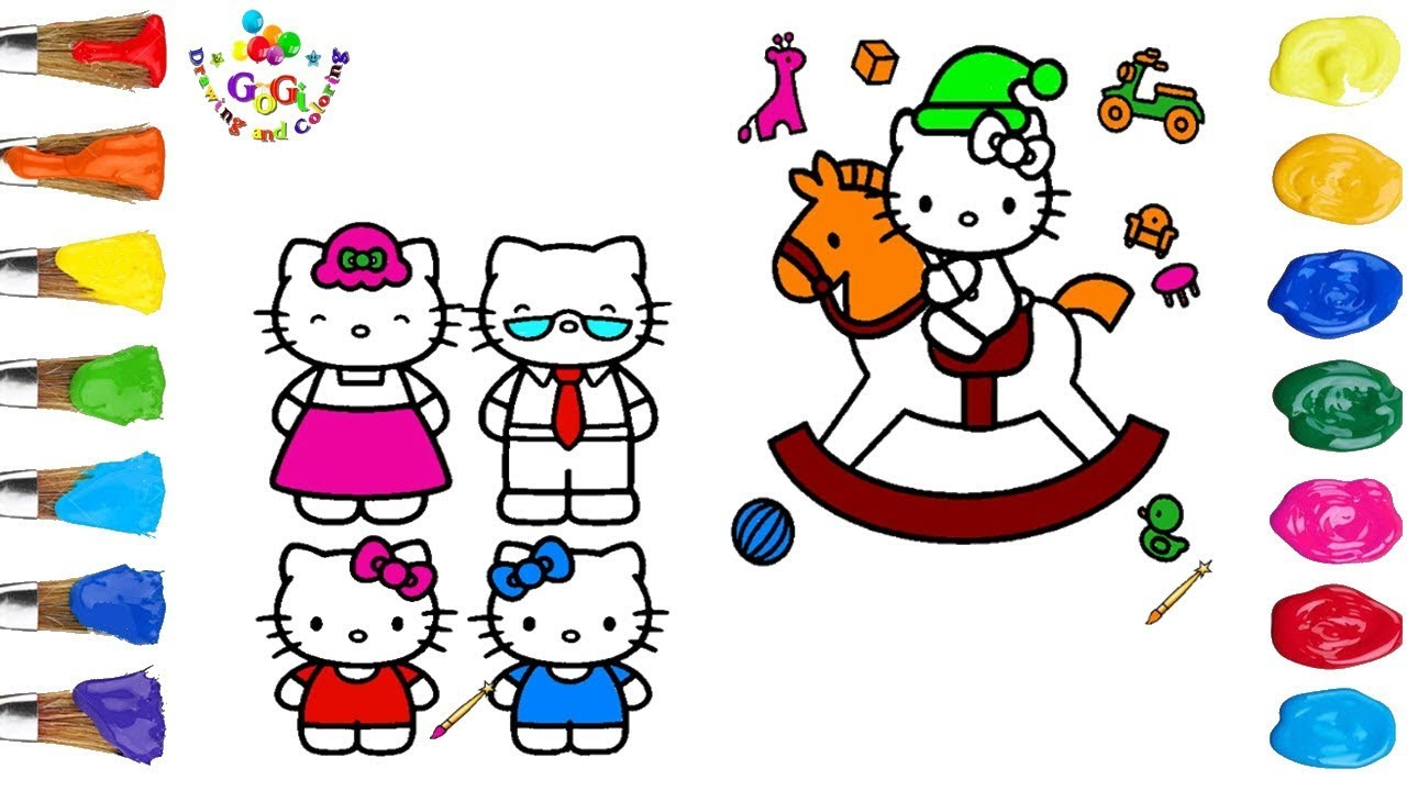 Hello kitty horse riding coloring page for kids hello kitty family coloring page