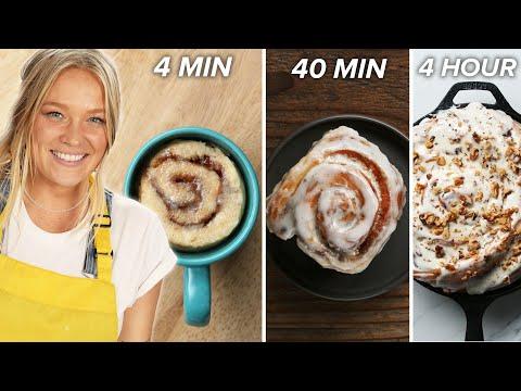 4-Min Vs. 40-Min Vs. 4 Hour Cinnamon Rolls  Tasty