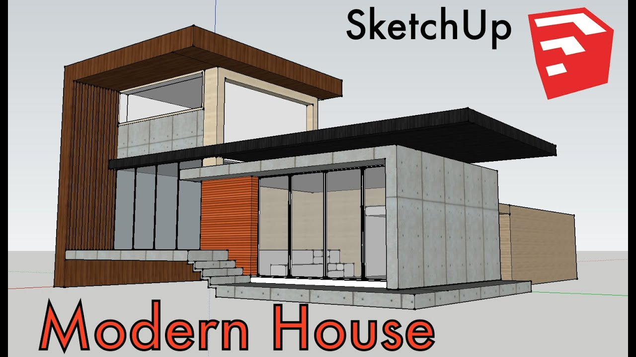 Modern house made in sketchup youtube for Modern house sketchup