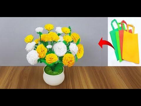 DIY Shopping bag flower // Beautiful flower Making by shopping bag