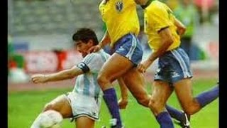Argentina - Brazil 1990 Italy World Cup(One man, Diego Maradona against Brazil. Maradona gets fouled by the Brazilians every time he touches the ball. Despite knee and ankle injuries he carried this ..., 2009-08-12T02:01:23.000Z)