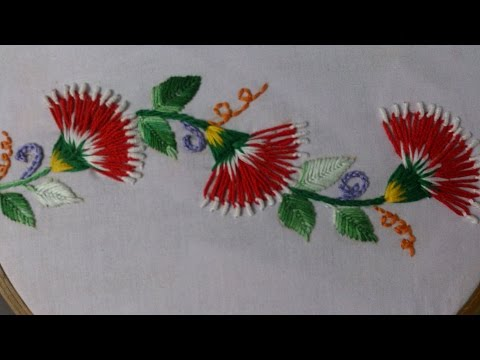 Hand embroidery stitches tutorial. Embroidery design .