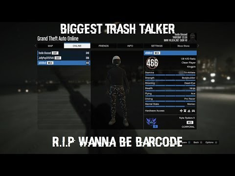 GTA 5 ONLINE WANNA BE BARCODE GETS SMACKED