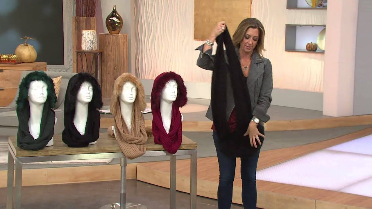 Dennis Basso Knit Hooded Infinity Scarf w/ Faux Fur with Stacey ...