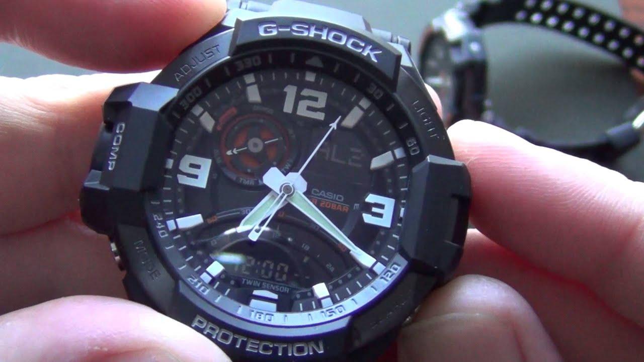 Gwa1000 Casio Gshock Premium Aviateur Montres G Shock Ga 1000 9bdr Gravity Master Twin Sensor Hybrid Gps Black Blue Gpw 1a