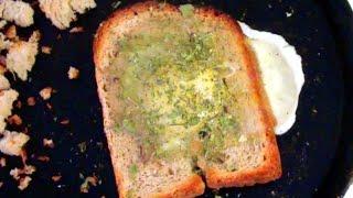 Яичница в хлебе на сковороде видео рецепт