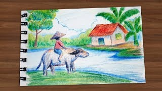How To Draw Landscape 05 || Kids and Buffalo || Draw For Kids