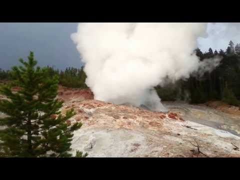 Norris Steamboat Geyser at 7:45PM 31 July 2013 Yellowstone National Park