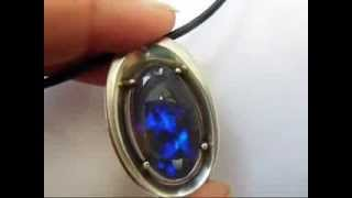 massive sterling silver pendant with black crystal opal from lightning ridge