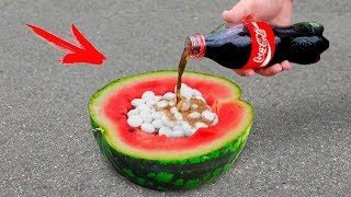 experiment: Watermelon Vs Coca Cola and Mentos!