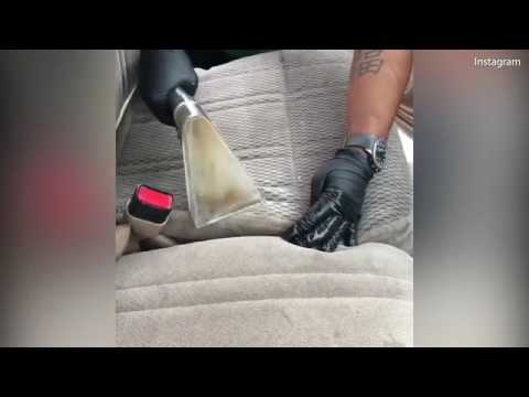 FILTHY Car Seat Cleaned With A Wet Vacuum Footage