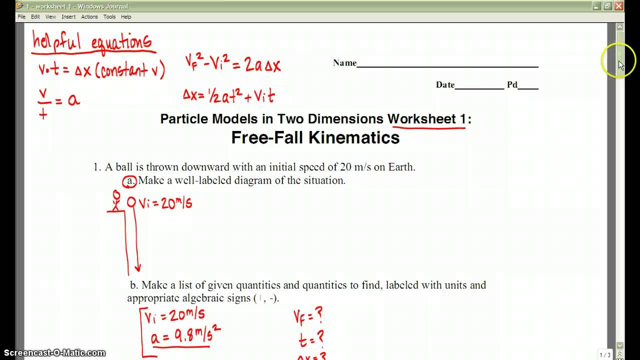 Physics worksheet 1 YouTube – Kinematics Worksheet