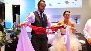 На свадьбе, известный иллюзионист, на глазах у всех снял лифчик с невесты!